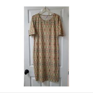 Lularoe Julia Formfit Midi Dress in Fall Print